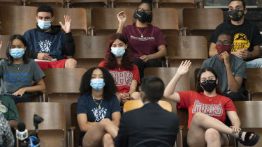 Students in New York, where all schools will be fitted with air purifiers as a COVID-safety measure.