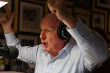 Broadcaster Alan Jones during his final breakfast show for 2GB from his home at Fitzroy Falls in the Southern Highlands.