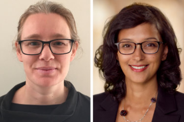 Research fellow Dr Katrina Hutchison and plastic and reconstructive surgeon Dr Neela Janakiramanan.