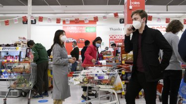Shoppers stocking up for lockdown on Saturday.