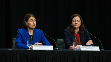 NSW Premier Gladys Berejiklian, left, and Queensland Premier Annastacia Palaszczuk at COAG last August.
