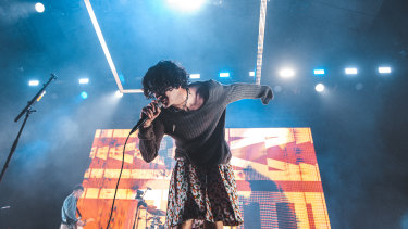 Mathew Healy rocking a skirt and not  making a big deal out of it.