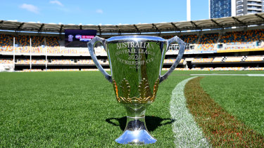 The 2020 AFL Premiership Cup at the Gabba.
