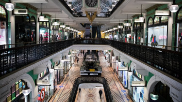 Not a soul in sight as the clock strikes 6.45pm in the Queen Victoria Building.