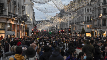 Christmas crowds on London's Regent Street on December 12.