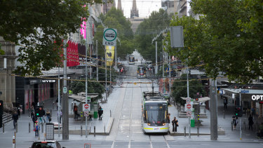 Foot traffic along Melbourne's Bourke Street Mall has slightly picked up.