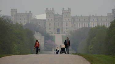 Windsor Castle seen from the Long Walk, which is next to the grounds of Frogmore Estate.