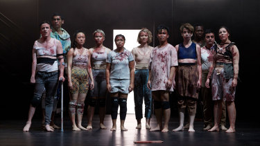 Bloodied and blooded: The cast of Kip Williams' Lord of the Flies.