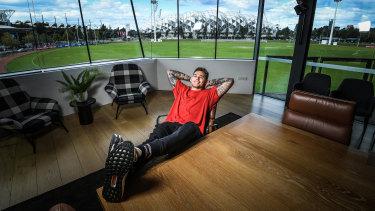 Waiting game: Jamie Elliott at Collingwood HQ this week.