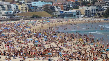 Crowds of people at Bondi beach on Christmas Day.