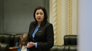 Premier Annastacia Palaszczuk during question time on the last sitting day of Parliament in 2020 before the October election.
