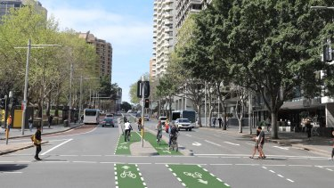 A render of the now ditched plans for a cycleway down the middle of Liverpool Street.