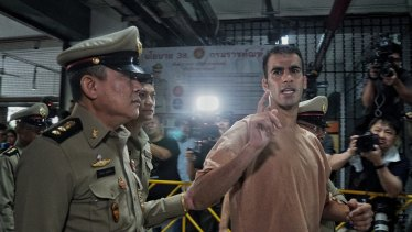 Hakeem al-Araibi arrives at a Thai court for his extradition hearing on Monday.