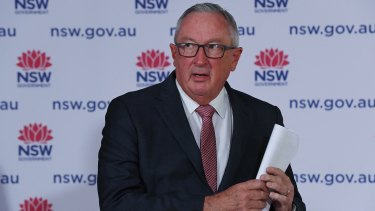 NSW Health Minister Brad Hazzard at the daily COVID-19 briefing on Tuesday.