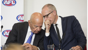 Rupert Murdoch (left) in 2015, after landing a new broadcast rights deal with the AFL.