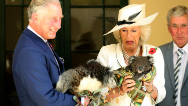 The Prince of Wales and the Duchess of Cornwall at Government House in Adelaide, 2012.