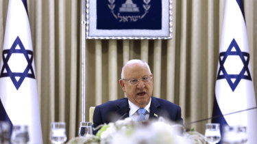 Israeli President Reuven Rivlin speaks during a consultation meeting with members of the Likud party.