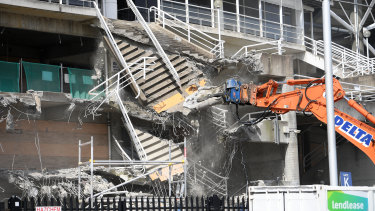 Demolition works underway at Allianz Stadium on Thursday.