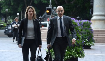 Moses Obeid (right) arrives at the Supreme Court of NSW with lawyer Rose Evers.