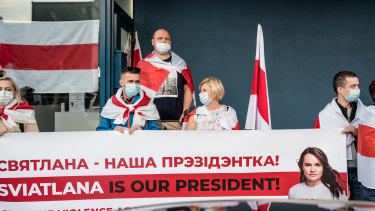 Svetlana Tikhanovskaya, the exiled opposition leader of Belarus, attends a protest against political repression in Belarus in Vilnius, Lithuania.