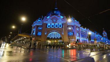 Flinders Street Station is turned blue.