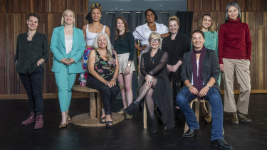 The cast, crew and inspiration for I'm With Her: (from left, back row) Tegan Nicholls,  Amy Harris, Emily Havea, Amy Morcom, Shakira Clanton, Sophie Blacklaw, Sheridan Harbridge (due to personal circumstances, Sheridan is no longer involved in the production), Gabrielle Chan; and (front row from left)  Lynette Curran, Julie Bates AO and  Victoria Midwinter Pitt.