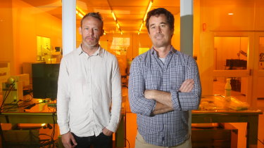 Jim Rabeau (right), a physics professor at Sydney University, with The Invisible Man's production designer Alex Holmes.
