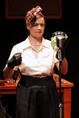Katie Fitchett as the sound effects artist in Murder on the Wireless.