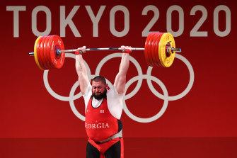 Heavyweight weightlifting gold medallist Lasha Talakhadze in Tokyo.