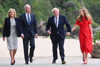 US President Joe Biden and first lady Jill Biden walk by the beach in Cornwall with British Prime Minister Boris Johnson and his wife Carrie Johnson, ahead of the G7 Summit.