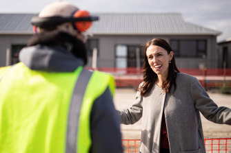 Prime Minister Jacinda Ardern pictured on a visit to a Regional School of Construction on Friday.