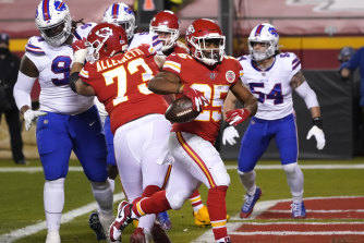 Touchdown: Chiefs running back Clyde Edwards scores.