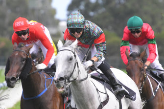 Kathy O'Hara swings from White Moss as she wins  the Millie Fox Stakes last year.