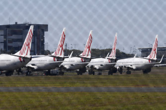Parked Virgin Australia planes. Bain Capital is spending $3.5 billion to purchase the airline.