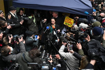 Stella Moris wept as she addressed the media outside the Old Bailey.