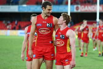 Jarrod Witts and Matt Rowell celebrate their win over the Dockers.