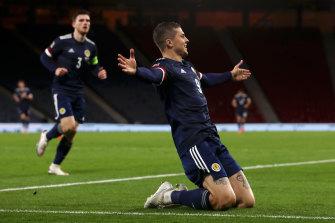 Lyndon Dykes celebrates his goal for Scotland.