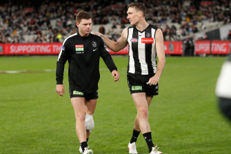 Star Collingwood midfielder Taylor Adams will be out for 10 weeks.