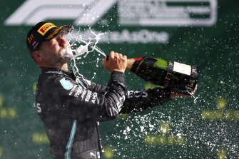Valtteri Bottas celebrates his win.