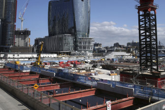 Construction is forging ahead on the Metro rail station that will sit under Central Barangaroo.