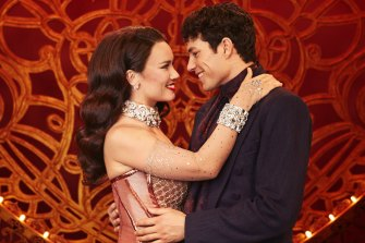 Alinta Chidzey and Des Flanagan play star-crossed lovers Satine and Christian in Moulin Rouge! The Musical!