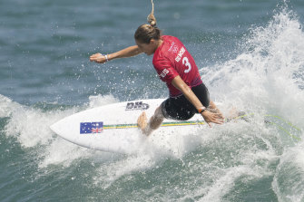 Australia's Stephanie Gilmore during the first round of the women's surfing competition at the 2020 Summer Olympics on Sunday.
