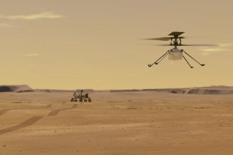 An illustration depicts Mars Helicopter Ingenuity during a test flight on Mars.