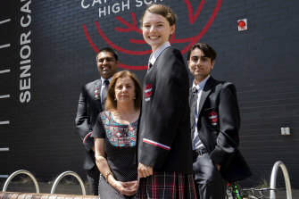 Year 12 HSC students Pratham Gupta, Abigail Bobkowski and Chrisovalanti Chindilas,  with their year adviser Jenny Perry. This is the first year students are sitting the HSC at Cammeraygal High School.