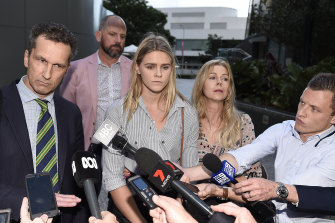 Shayna Jack with her mother and lawyer after a meeting with ASADA in August 2019.