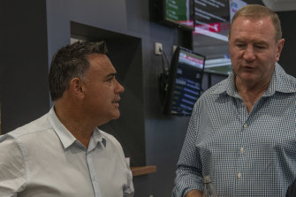 NSW Nationals member for Myall Lakes Stephen Bromhead (right) and party leader John Barilaro.