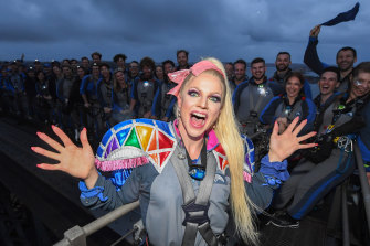 International drag queen superstar Courtney Act performed on the iconic Sydney Harbour Bridge.