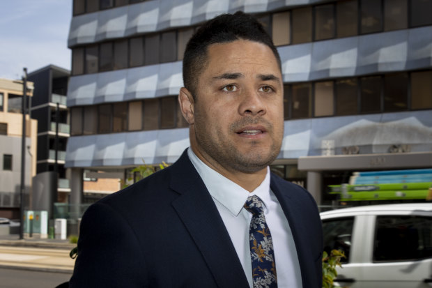 Jarryd Hayne arrives at court on Wednesday.