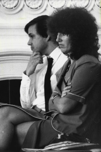 Frank Sartor and Clover Moore at a special meeting of the Council of the City of Sydney to consider the proposed amalgamation of the City of Sydney with South Sydney in1981.