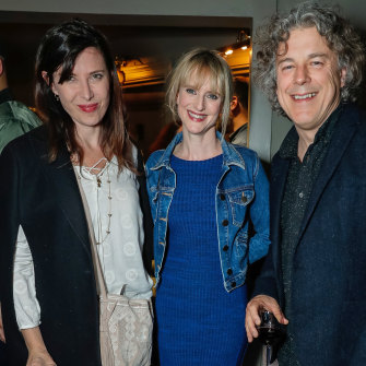 Alan Davies with his children's book author wife Katie Davies (centre) and actor Ronni Ancona.